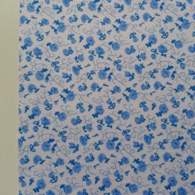Feuille de tissu autocollant     21*14.5 cm fleuri bleu et blanc