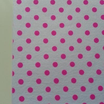 Feuille de tissu autocollant     21*14.5 cm pois rose et blanc