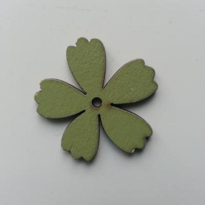 Fleur en bois vert 35mm (1)