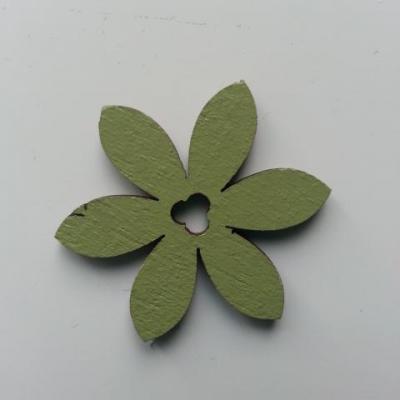 Fleur en bois vert 35mm (2)