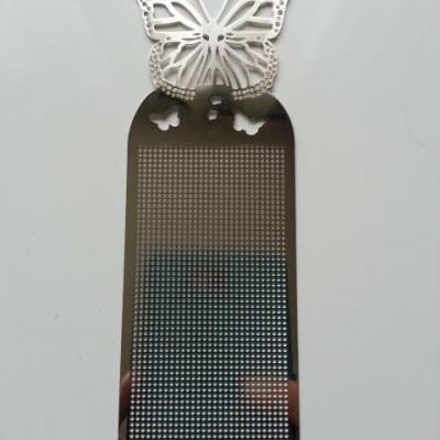 support papillon marque page à broder au point de croix en métal argenté 14,5*5cm