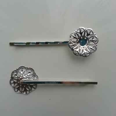 Lot de 2 barrettes fleur filigrane argentée 60*20mm