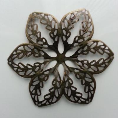 Estampe filigranée fleurs ronde 65mm bronze