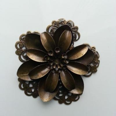Estampe filigranée fleurs ronde 50mm bronze