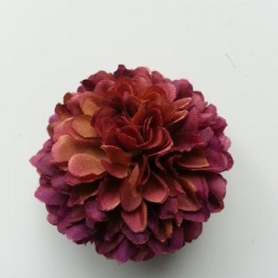 Fleur  pompon en tissu  prune et vert 50mm