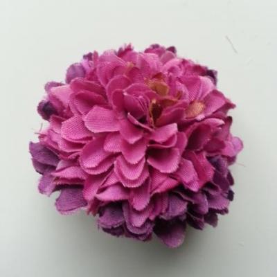 Fleur  pompon en tissu  prune et violet 50mm