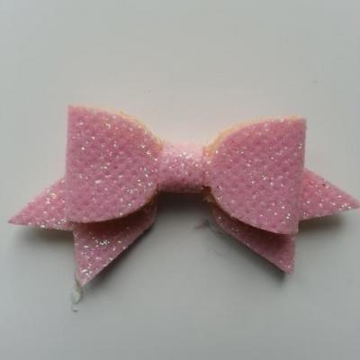 petit noeud pailleté rose  clair 60*30mm