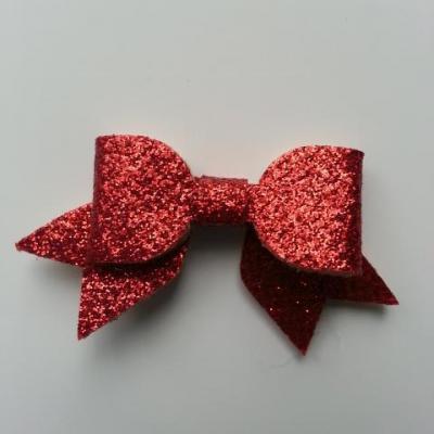 petit noeud pailleté rouge  60*30mm