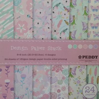 bloc de 24 feuilles double face de papier 15.2*15.2cm impression fée papillon