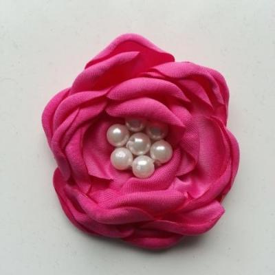 fleur satin de soie centre perle 55mm rose fuchsia