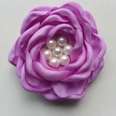 fleur satin de soie centre perle 55mm mauve
