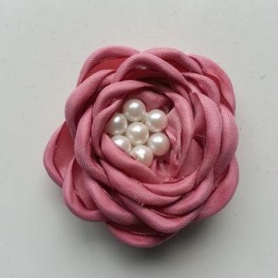 fleur satin de soie centre perle 55mm vieux  rose