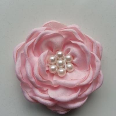 fleur satin de soie centre perle 55mm rose