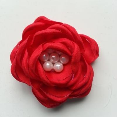 fleur satin de soie centre perle 55mm rouge