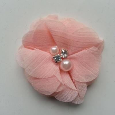 fleur perle et strass mousseline  55mm pêche clair