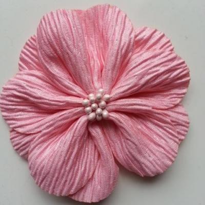 fleur tissu plissé et pistils 80mm rose
