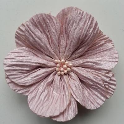 fleur tissu plissé et pistils 80mm beige