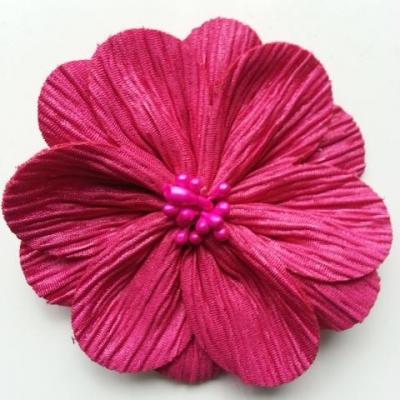 fleur tissu plissé et pistils 80mm rose fuchsia