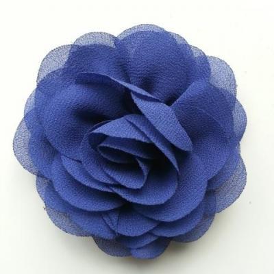 fleur de pavot en mousseline 80mm bleu marine