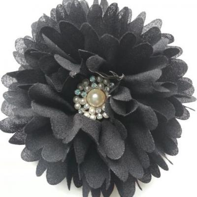 fleur mousseline cetre perle 90mm noir