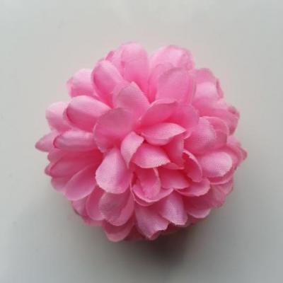 Fleur  pompon en tissu rose 50mm