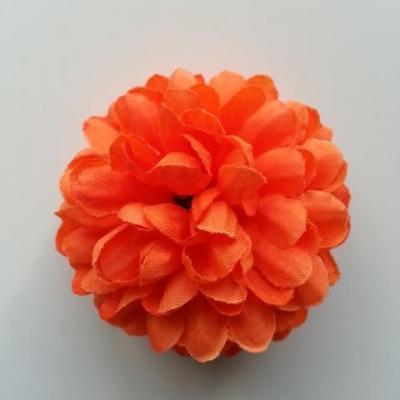 Fleur  pompon en tissu orange  50mm