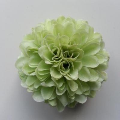 Fleur  pompon en tissu  vert (2)  50mm