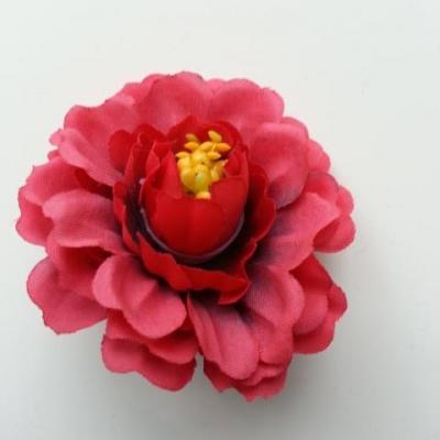 fleur artificielle en tissu et pistils bordeaux 55mm