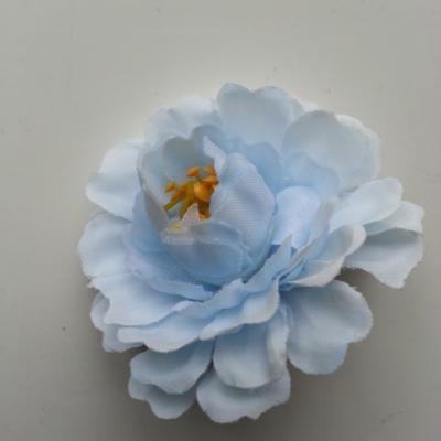 fleur artificielle en tissu et pistils bleu ciel 55mm
