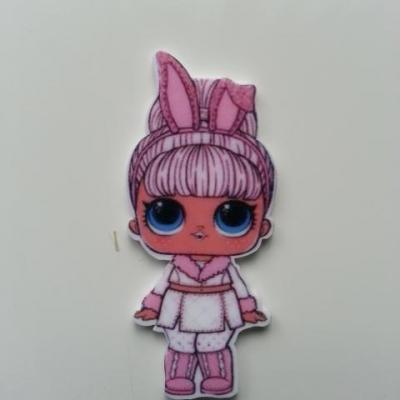 cabochon en resine poupée LOL à couettes rose 30*50mm