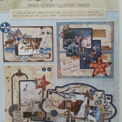bloc de 12 cartes prédécoupées motif noel 'winter trails