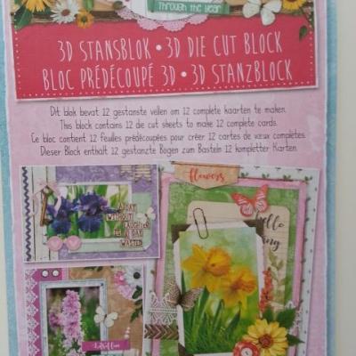 bloc de 12 cartes prédécoupées motif fleurs 'flowers