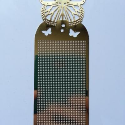 support papillon marque page à broder au point de croix en métal doré, or 14,5*5cm
