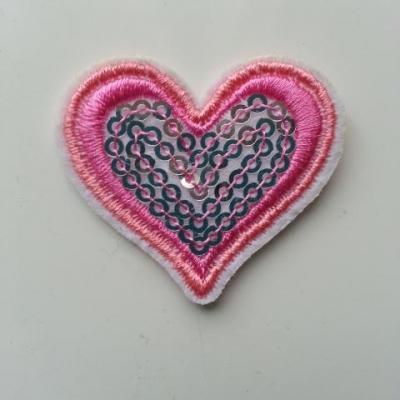 ecusson pacth à coudre  coeur pailleté rose  40*40mm