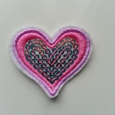ecusson pacth à coudre  coeur pailleté rose et mauve 40*40mm