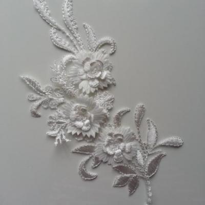applique  en dentelle et fleur blanc  23*10cm