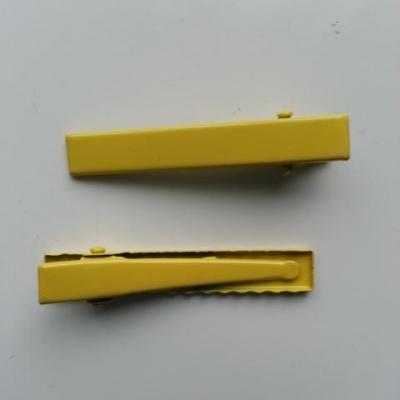 lot de 2 barrettes crocodile en métal 45mm jaune
