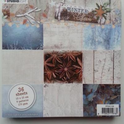 bloc de 36 feuilles de papier 15*15cm dans les tons bleu et marron