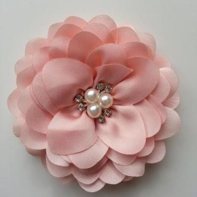 grande fleur en satin de soie centre perle et strass 90mm peche