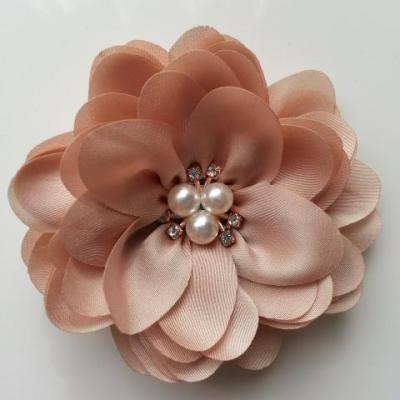 grande fleur en satin de soie centre perle et strass 90mm beige