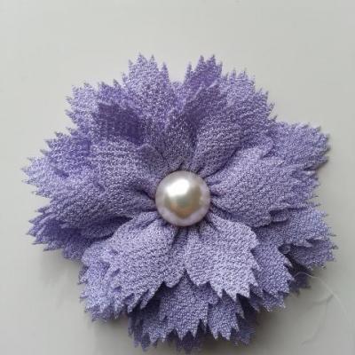 fleur en tissu centre perle 60 mm mauve