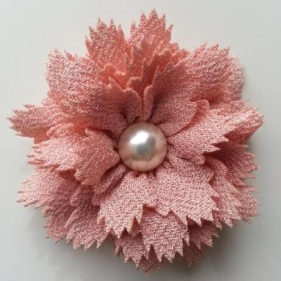 fleur en tissu centre perle 60 mm peche