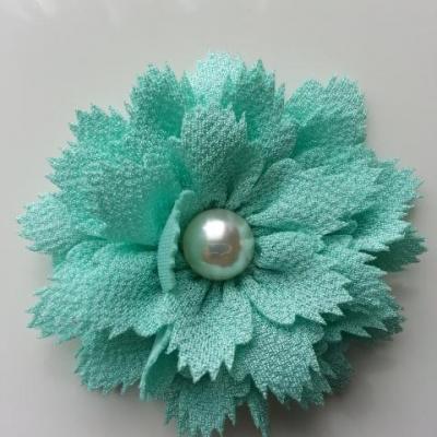 fleur en tissu centre perle 60 mm verte