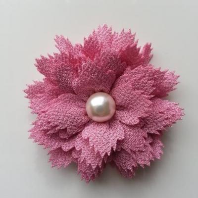 fleur en tissu centre perle 60 mm vieux rose