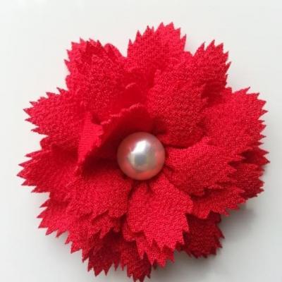fleur en tissu centre perle 60 mm rouge
