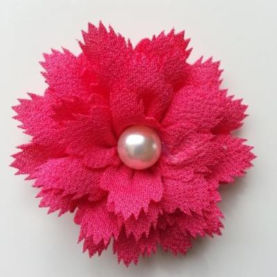 fleur en tissu centre perle 60 mm rose fuchsia