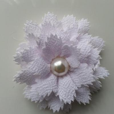 fleur en tissu centre perle 60 mm blanc