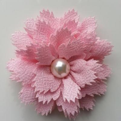 fleur en tissu centre perle 60 mm rose clair