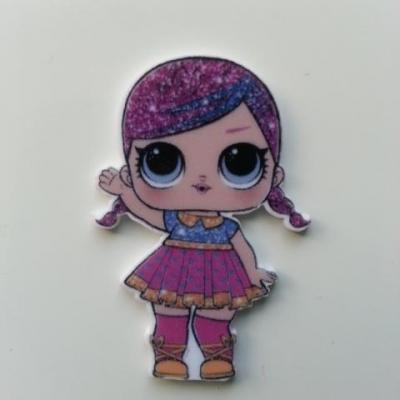cabochon en resine poupée LOL à couettes rose 28*40mm