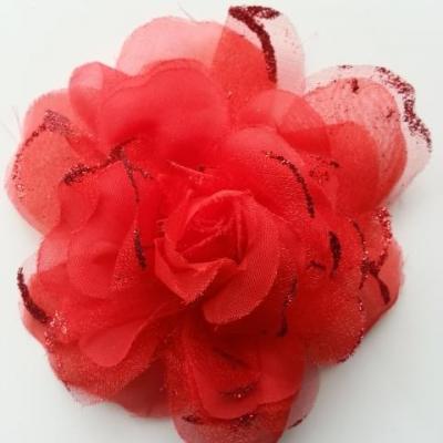 fleur artificielle en tissu  pailletée 10cm rouge